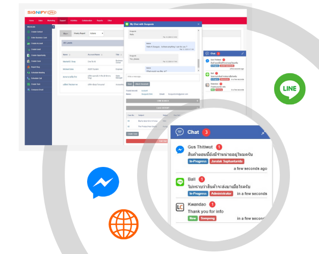 CRM Line and Facebook Integration